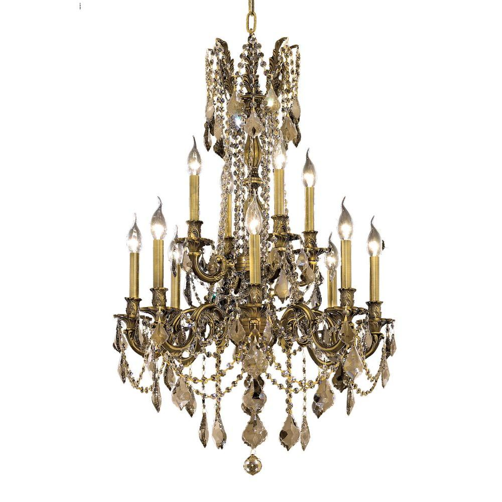 Elegant Lighting 12-Light Antique Bronze Chandelier with Golden Teak, Smoky Crystal