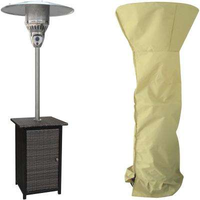 7 ft. 41,000 BTU Brown/Stainless Steel Square Wicker Propane Patio Heater with Weather-Protective Cover