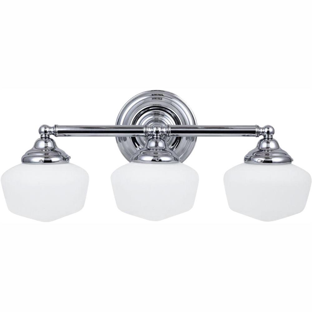 Academy 3-Light Chrome Vanity Light with LED Bulbs