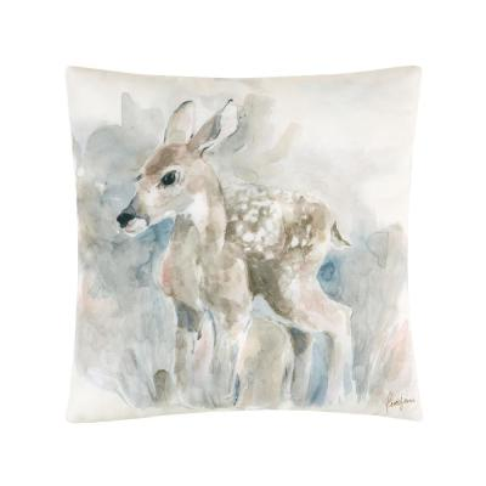Tan Watercolor Fawn Indoor/Outdoor 18 in. x 18 in. Standard Throw Pillow