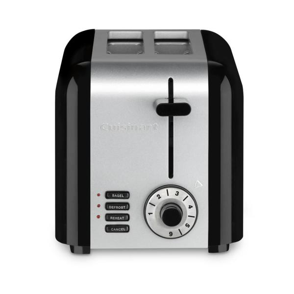Compact 2-Slice Black Stainless Steel Wide Slot Toaster