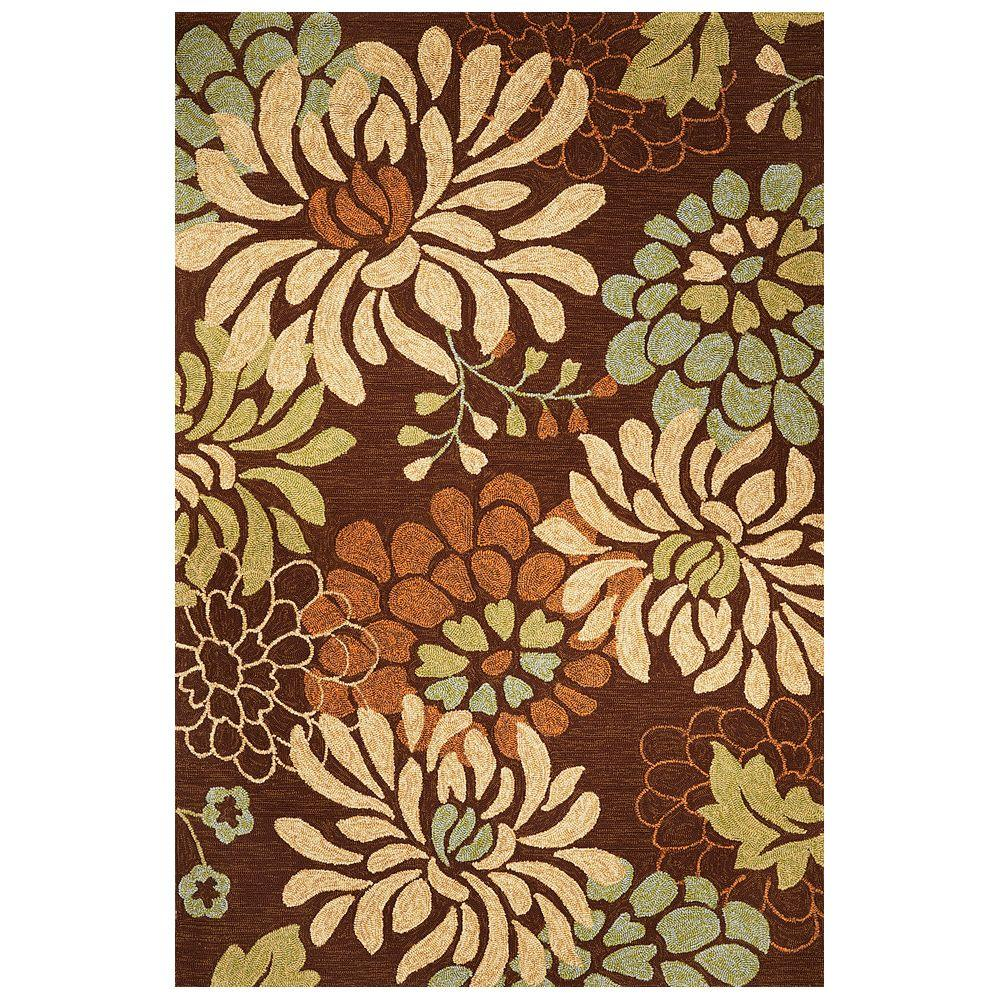 Kas Rugs Secret Garden Mocha 7 ft. 6 in. x 9 ft. 6 in. Indoor/Outdoor Area Rug