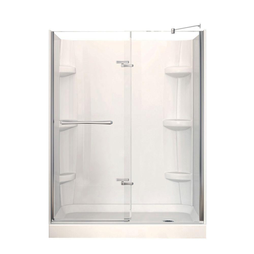Reveal 32 in. x 60 in. x 76-1/2 in. Shower Stall in White