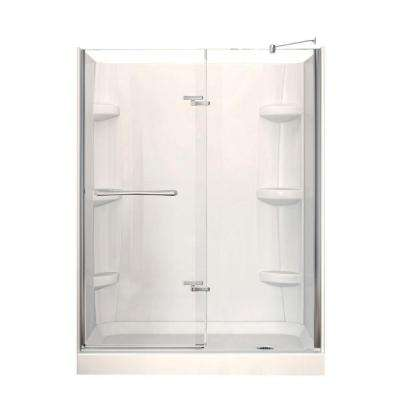 Reveal 32 in. x 60 in. x 76-1/2 in. Alcove Shower Stall in Chrome with Right Drain Base and Walls in White
