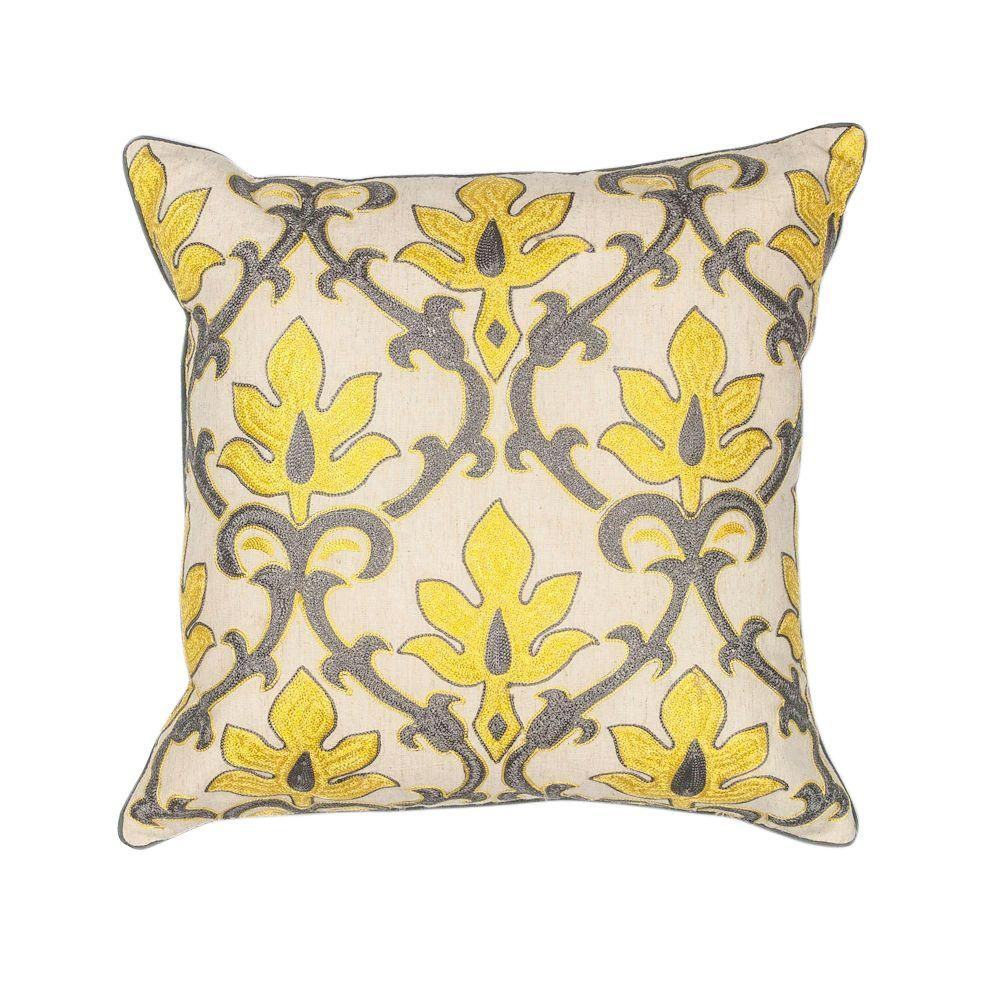 Kas Rugs Simple Scroll Yellow Grey Decorative Pillow