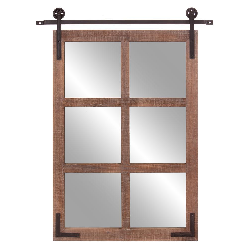 Medium Rectangle Brown Hooks Mirror (36.5 in. H x 29.75 in. W)