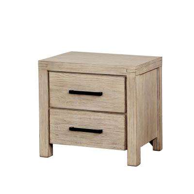 Stewart 2-Drawer Wire-Brushed White Nightstand