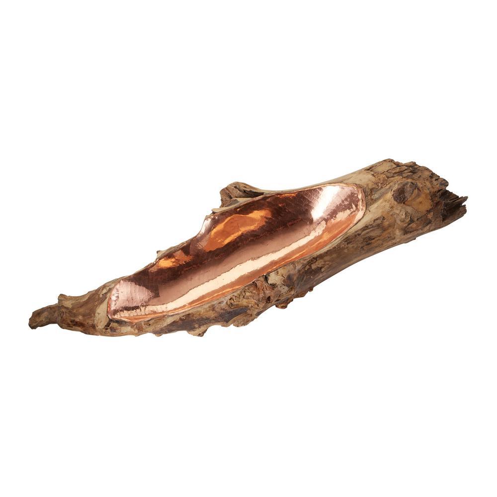 Titan Lighting Short Teak Root Bowl with Copper Insert