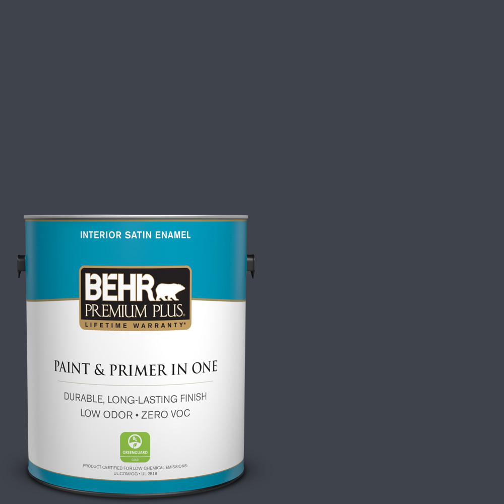 BEHR Premium Plus 1-gal. #740F-7 Night Shade Zero VOC Satin Enamel Interior Paint