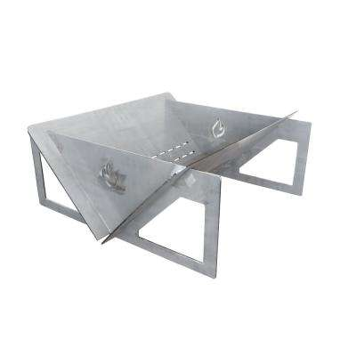 31 in. x 13 in. Square 7-Gauge Plate Steel Wood Fire Pit in Natural Steel