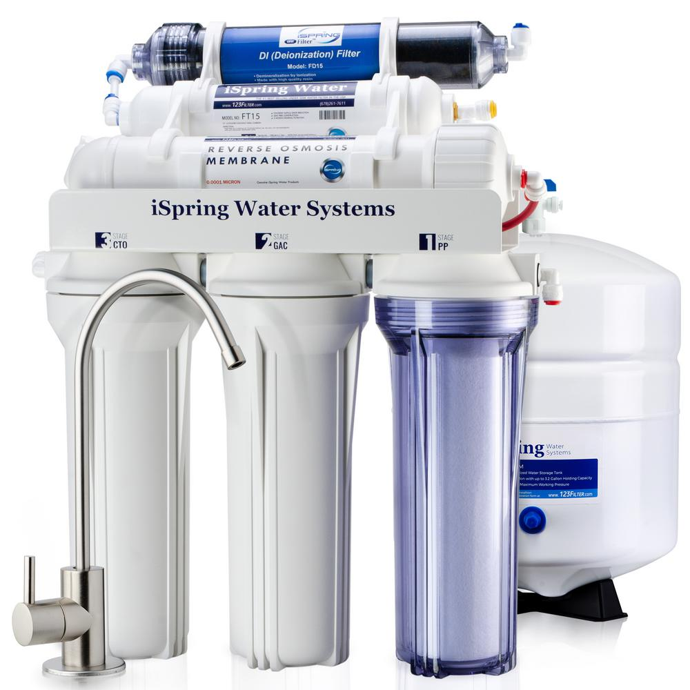 ISPRING 6-Stage 75GPD Under sink Reverse Osmosis Water Filter System with De-Ionization filter for 0 TDS