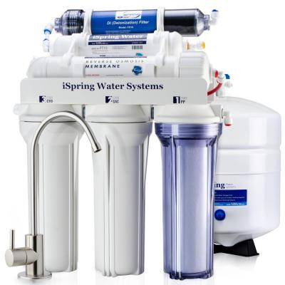 6-Stage 75GPD Under sink Reverse Osmosis Water Filter System with De-Ionization filter for 0 TDS