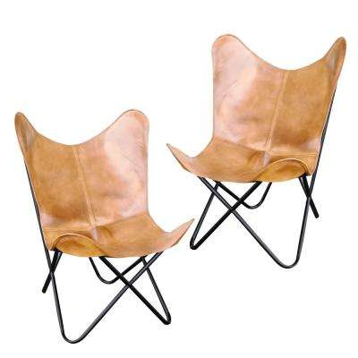 Light Tan Natural Leather Butterfly Chair (2-Piece Set)