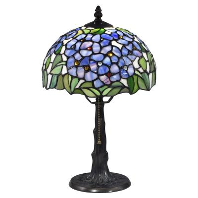 Blue Garden 16 in. Antique Bronze and Verde Table Lamp with Hand Rolled Art Glass Shade