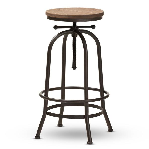 Baxton Studio Aline 28 in. Oak Brown and Rust Bar Stool