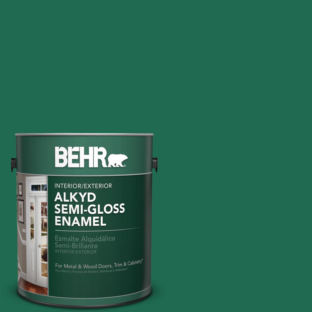 1 gal. #P430-7 Sparkling Emerald Semi-Gloss Enamel Alkyd Interior/Exterior Paint
