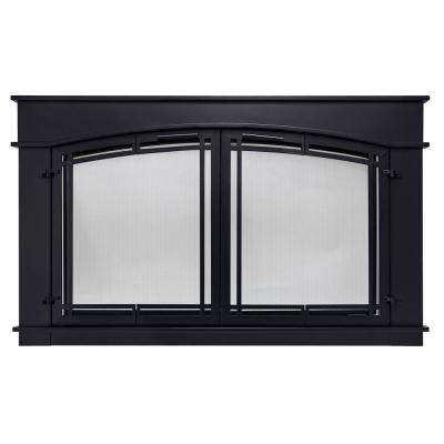 Medium Black Fireplace Doors Fireplaces The Home Depot