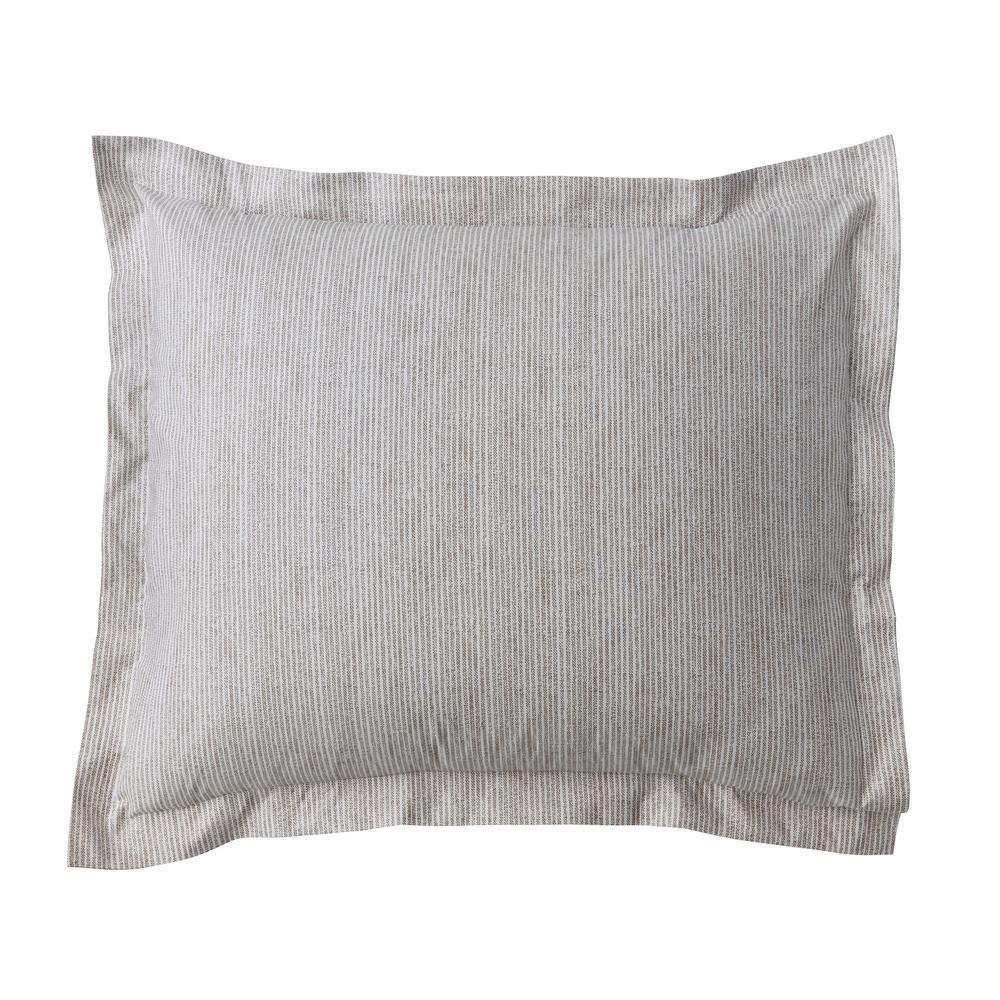 Larkin Stripe Taupe 300-Thread Count Organic Cotton Percale Euro Sham