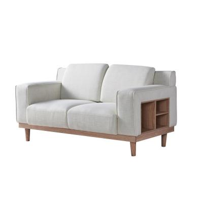 Kasma 59.8 in. Cream Polyester 2-Seater Loveseat with Storage