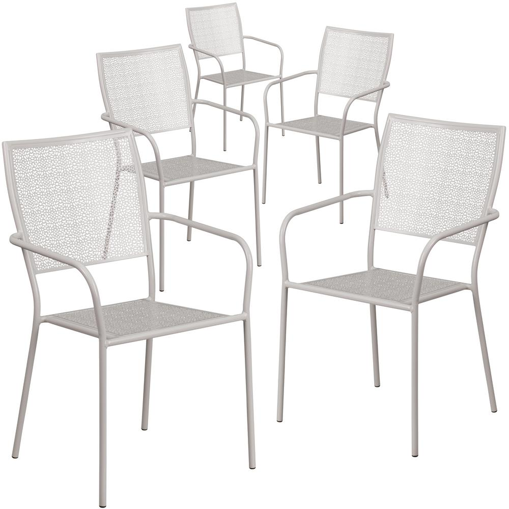 Stackable Metal Outdoor Dining Chair in Light Gray (Set of 5)