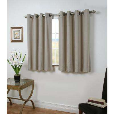 Grand Pointe 54 in. W x 45 in. L Polyester Blackout Short Length Window Panel in Smoke