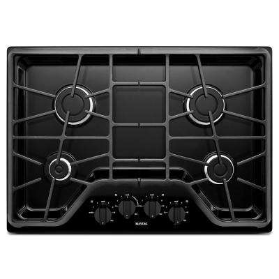30 in. Gas Cooktop in Black with 4-Burners including 15000-BTU Power Burner
