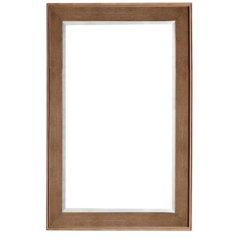 Columbia 29 in. x 42 in. H Framed Wall Mirror in Latte Oak