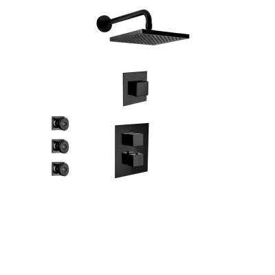 Quadro 3-Handle 2-Spray Square Shower Faucet with 3 Body Jets in Matte Black (Valve Included)