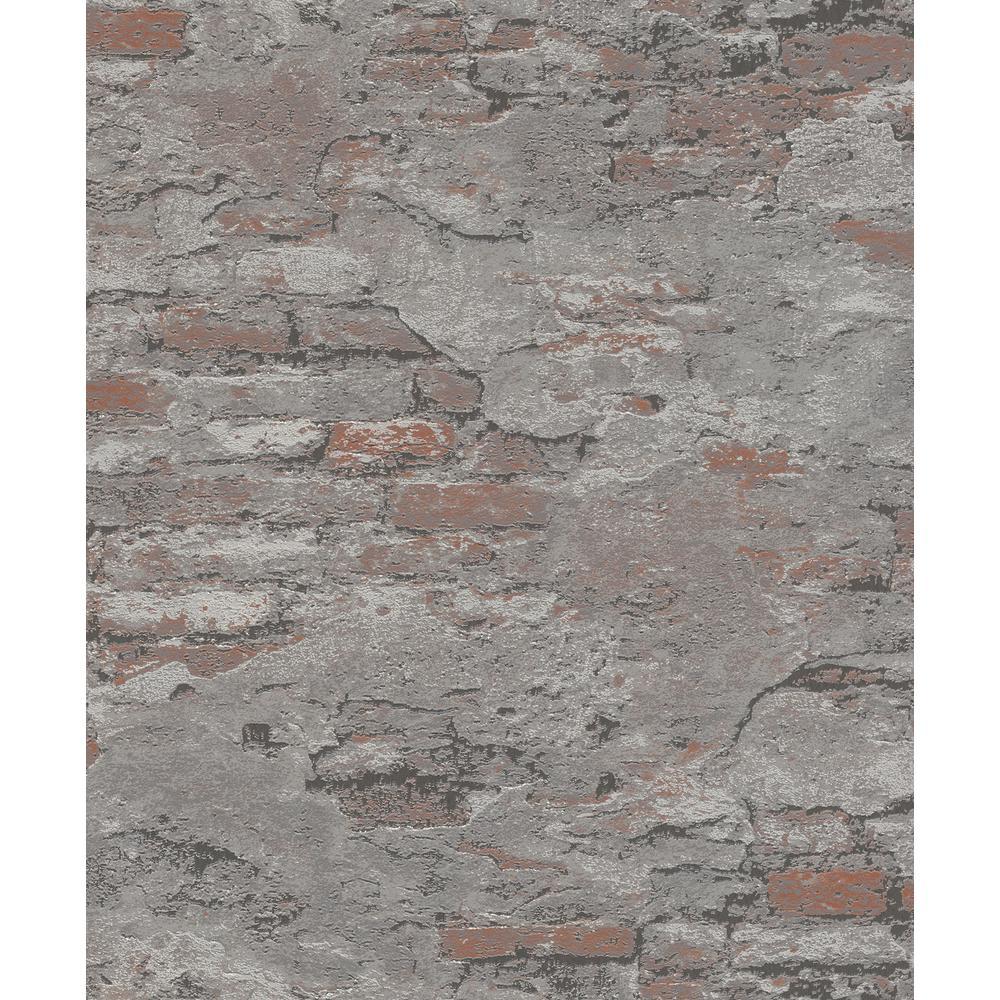 8 in. x 10 in. Templier Grey Distressed Brick Wallpaper Sample