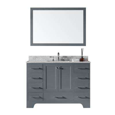 48 in. Single Sink Bathroom Vanity in Cashmere Grey with Carrara White Marble Top and Mirror Set