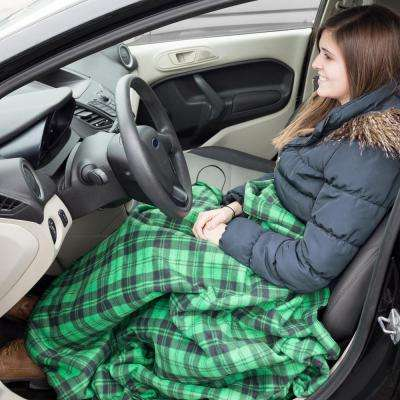 Green Plaid Polyester Electric Throw Blanket