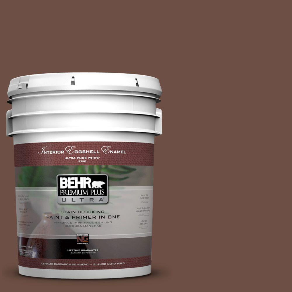 BEHR Premium Plus Ultra 5-gal. #pmd-108 Double Chocolate Eggshell Enamel Interior Paint, Browns/Tans