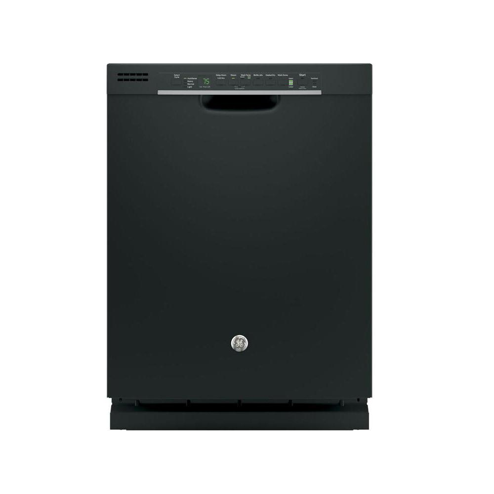Front Control Built-In Tall Tub Dishwasher in Black with Steam Prewash