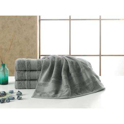 Solomon Collection 27 in. W x 52 in. H 100% Turkish Cotton Bordered Design Luxury Bath Towel in Grey (Set of 4)