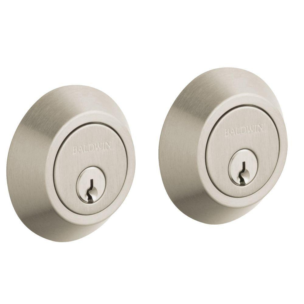 2-5/8 in. Contemporary Double Cylinder Door Prep Satin Nickel Deadbolt