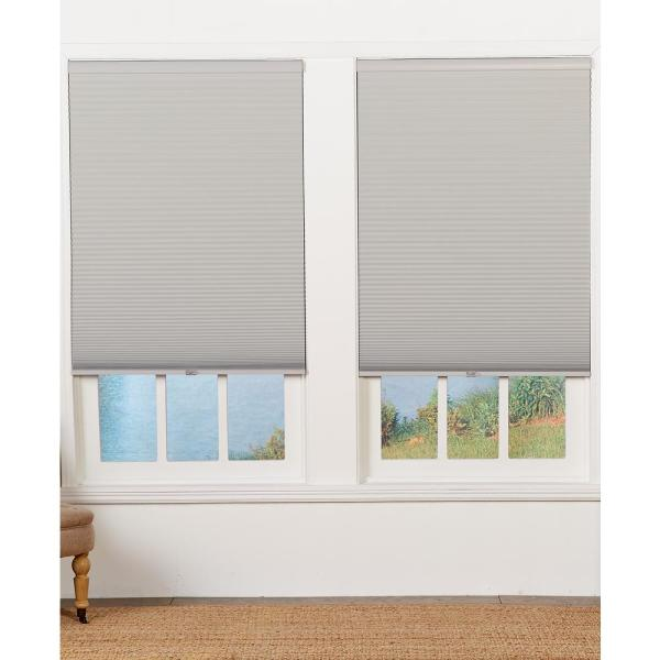 Perfect Lift Window Treatment Cut To Width Sterling Gray 1 5in Blackout Cordless Cellular Shade 59 5in W X 72in L Actual Size 59 5in W X 72in L Qelgwt594720 The Home Depot