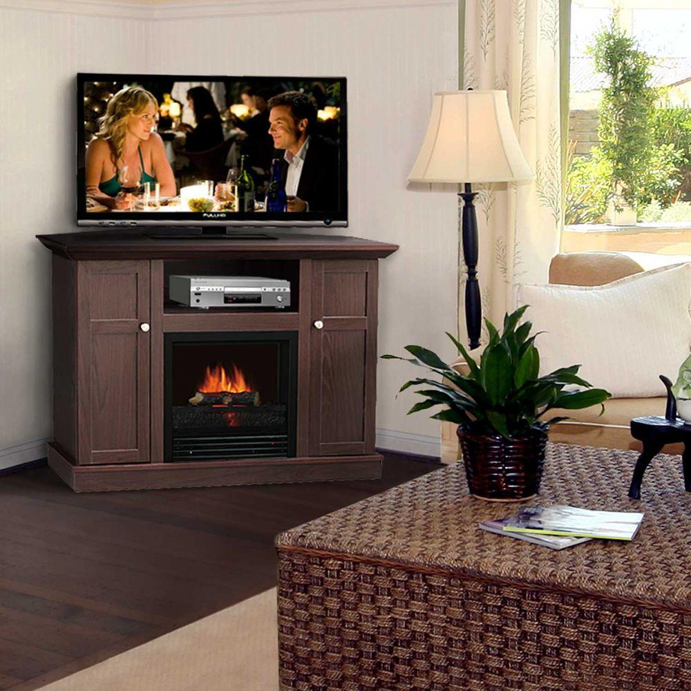 Quality Craft 42 in. Convertible Media Console Electric Fireplace in Dark Chocolate