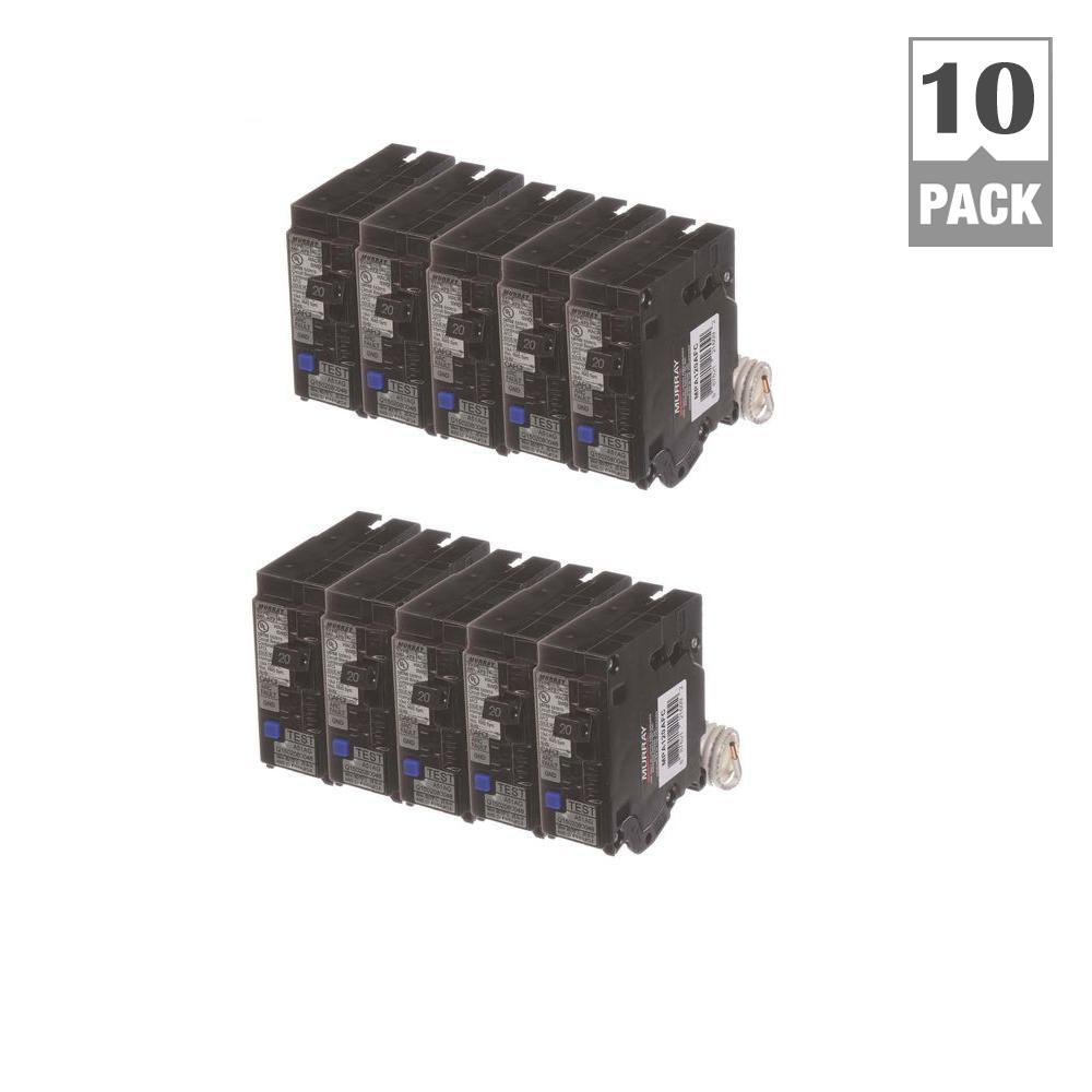 murray 15 amp single pole combination afci circuit breakers 10 pack bunmpafc1510 the home depot. Black Bedroom Furniture Sets. Home Design Ideas