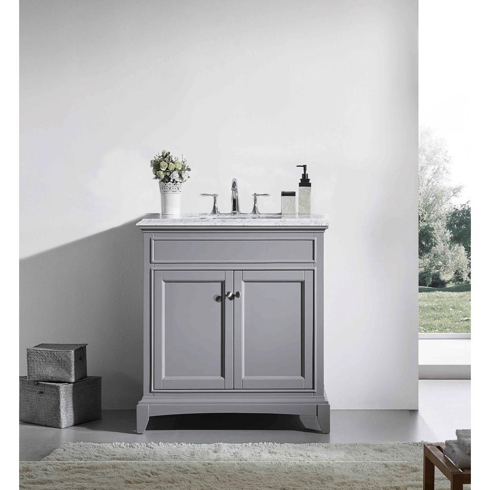 Eviva Elite Stamford 30 in. W x 23.5 in. D x 36 in. H Vanity in Gray with Carrera Marble Top in White with White Basin