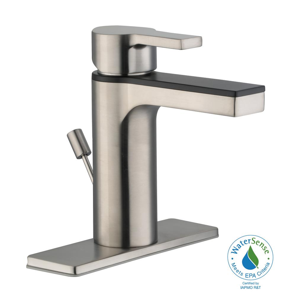 Modern Contemporary Single Hole Single-Handle Low-Arc Bathroom Faucet in Dual