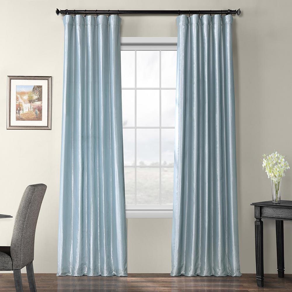 Exclusive Fabrics & Furnishings Winter Ice Blue Blackout Faux Silk Taffeta Curtain - 50 in. W x 96 in. L