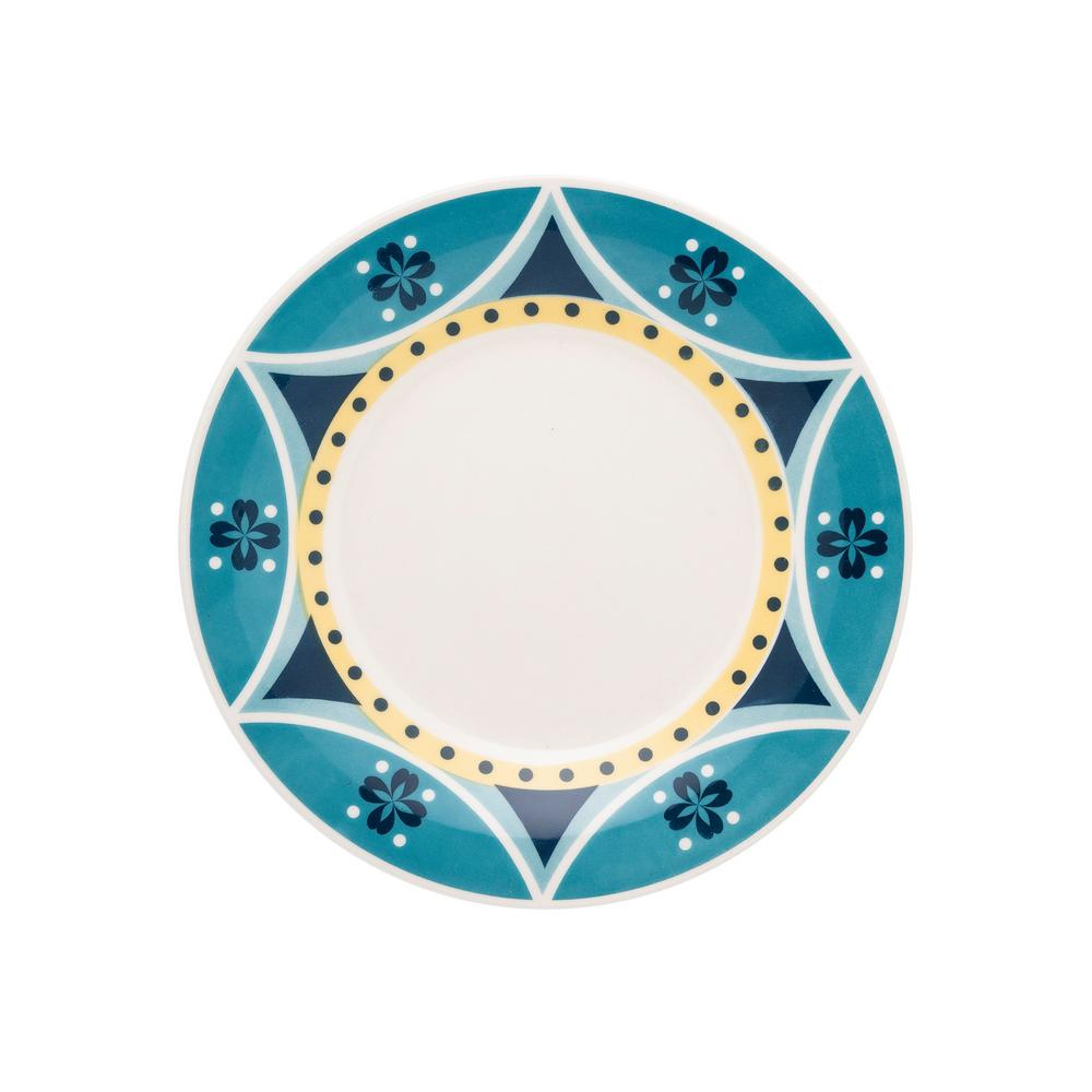 Manhattan Comfort 7.48 in. Actual Yellow and Blue Salad Plates (Set of 12) was $99.99 now $52.5 (47.0% off)