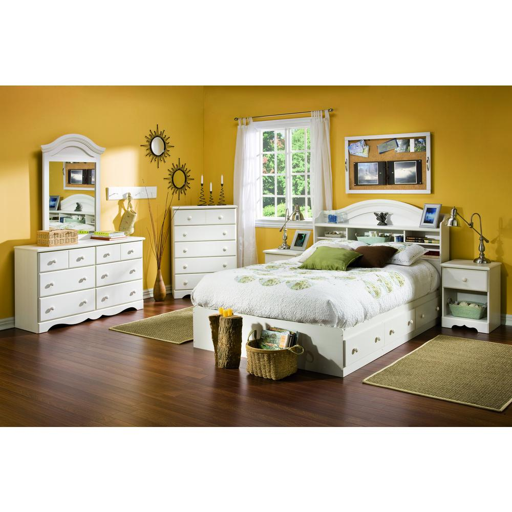South Shore Summer Breeze 4 Piece White Wash Full Bedroom Set