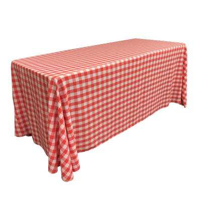 """90 in. x 156 in. White and Coral Polyester Gingham Checkered Rectangular Tablecloth"""