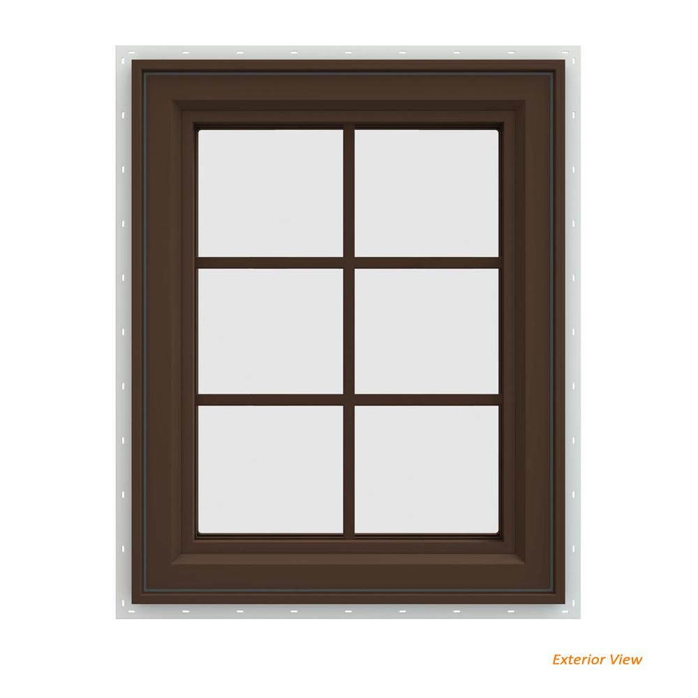 JELD-WEN 23.5 in. x 29.5 in. V-4500 Series Brown Painted Vinyl Right-Handed Casement Window with Colonial Grids/Grilles