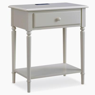 Coastal Notions Wood Greige Nightstand Table with AC/USB Charger