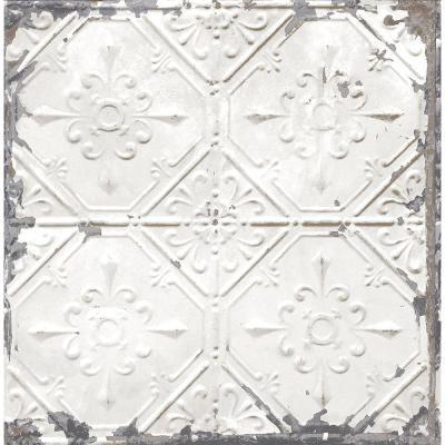 56.4  sq. ft. Donahue White Tin Ceiling Wallpaper