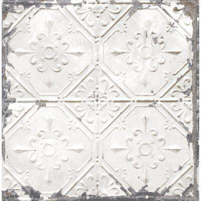 White Tin Ceiling Distressed Tiles Wallpaper