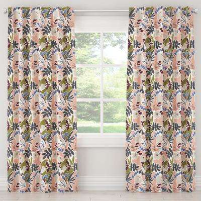 50 in. W x 84 in. L Unlined Curtain in Parker Floral Peach