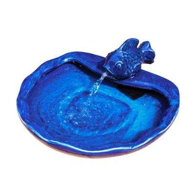 Blue Glazed Ceramic Solar Koi Fountain